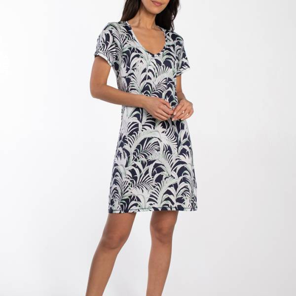 Cyell Nachthemd kort Cyell palm leaves dress short sleeve blauw