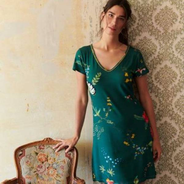 PIP Studio Nachthemd kort PIP Studio djoy night dress fleur grandeur groen