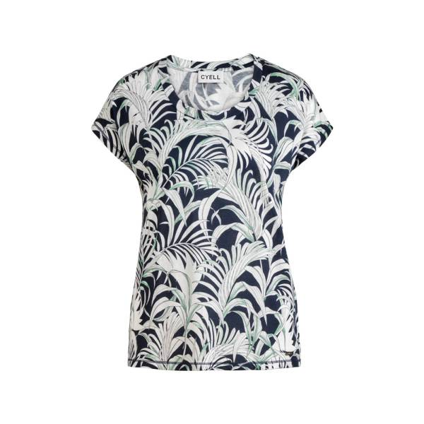 Cyell Dames nachtmode overig Cyell palm leaves shirt short sleeve blauw