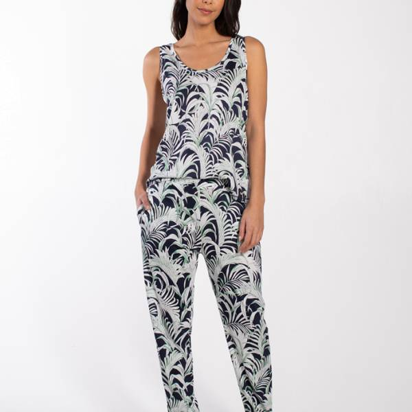 Cyell Dames nachtmode overig Cyell palm leaves trousers long blauw
