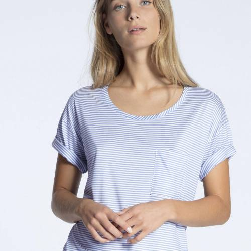 Calida 100% nature  t-shirt blauw combinatie