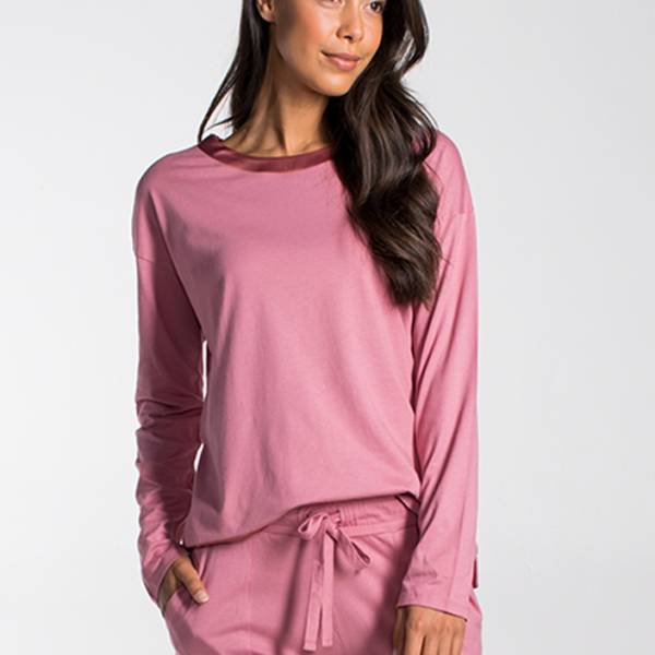 Cyell Dames nachtmode overig Cyell solids mauve shirt long sleeve roze