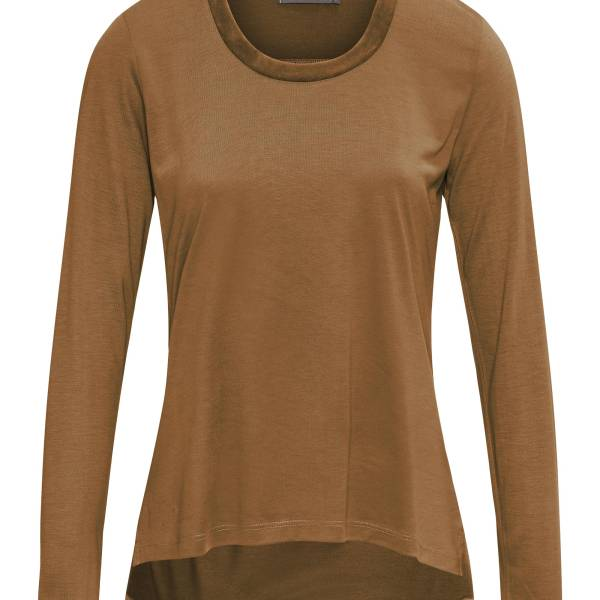 Essenza Dames nachtmode overig Essenza luyza uni top long sleeve bruin