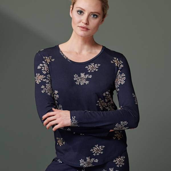 Essenza Dames nachtmode overig Essenza waona lauren top long sleeve blauw