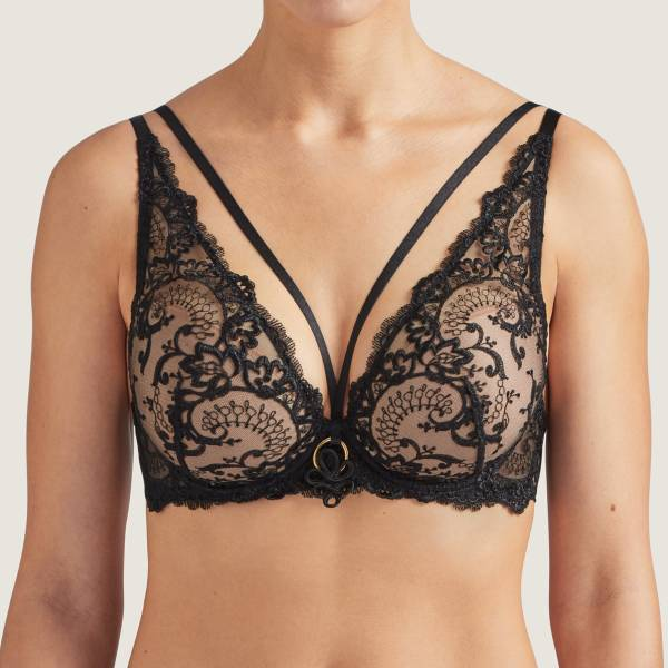 Aubade Push Up BH Aubade shoulders plunge bra la reine zwart