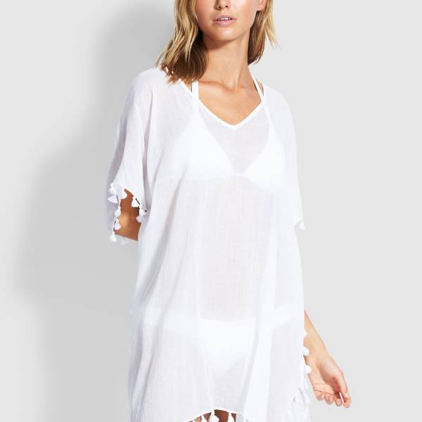 Seafolly Kaftan/Tuniek Seafolly amnesia wit