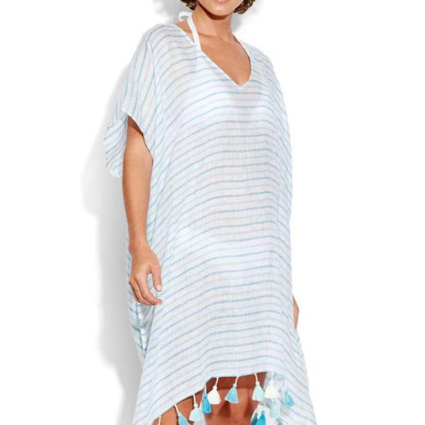 Seafolly Kaftan/Tuniek Seafolly linen stripe blauw